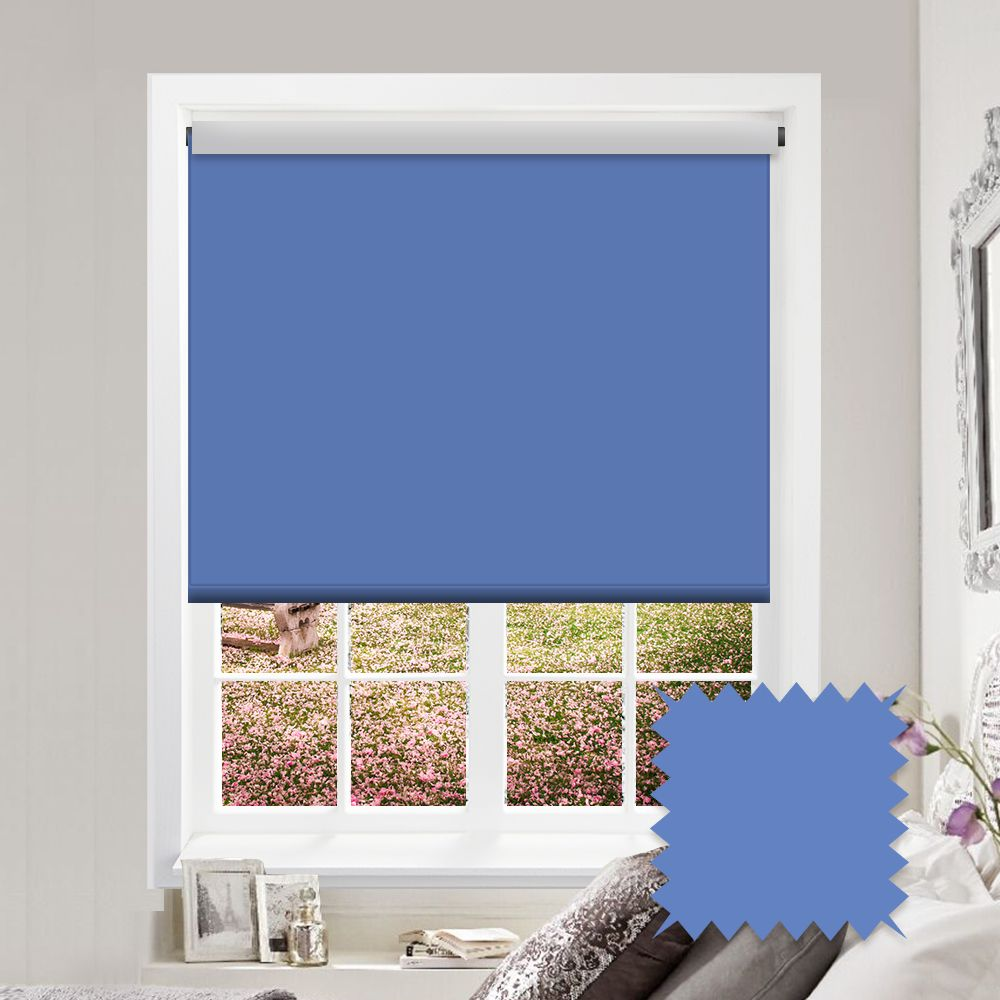 Blackout Roller Blind Bermuda Light Blue Plain Just Blinds