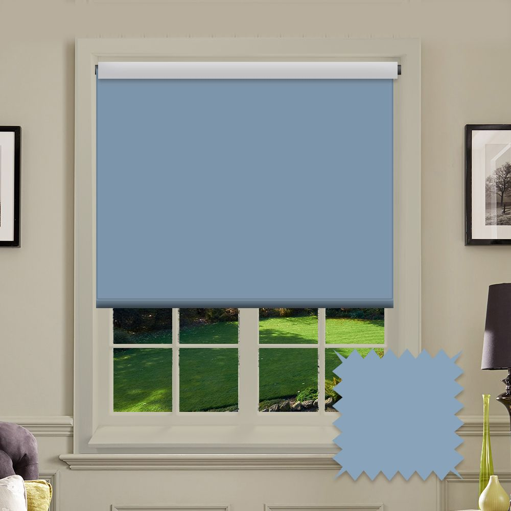 Blackout Blue Roller Blind Bermuda Air Blue Plain Just