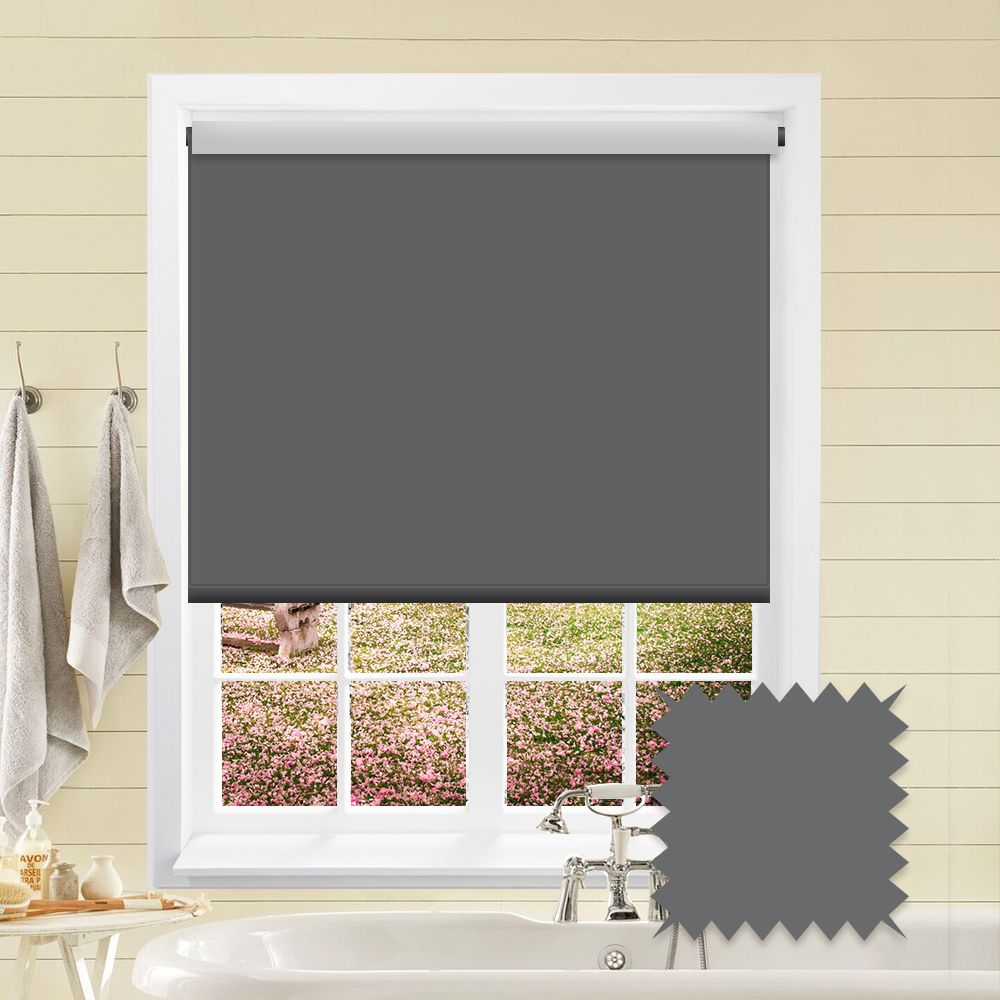 Blackout Grey Roller Blind Bermuda Dark Grey Plain Just