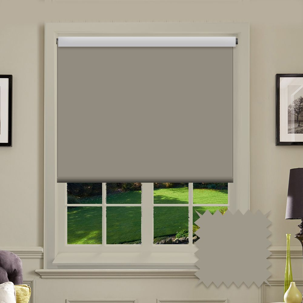 Blackout roller blind bermuda dune grey plain just blinds