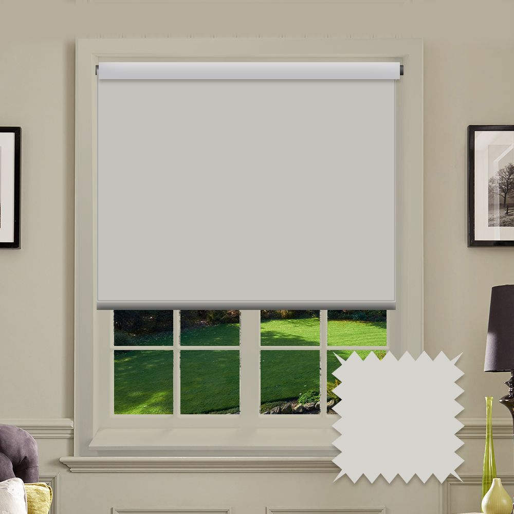 Blackout White Roller Blind Bermuda White Plain Just
