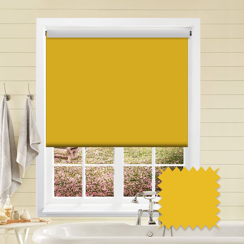 Blackout Yellow Roller Blind Bermuda Fresia Yellow Plain