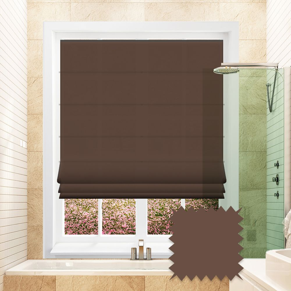 Brown Plain Roman Blind In Fagel Coffee Fabric Just Blinds