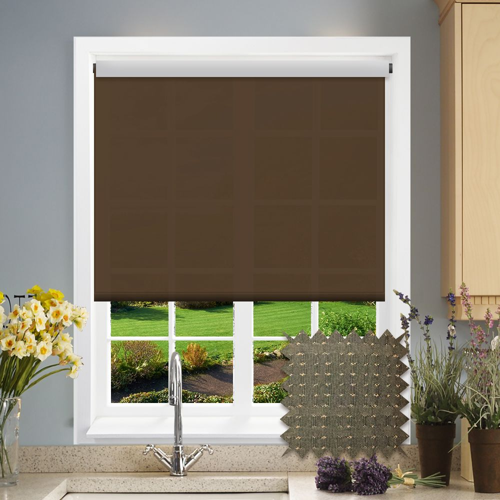 Chocolate Weave Pattern Roller Blind Brown Just Blinds