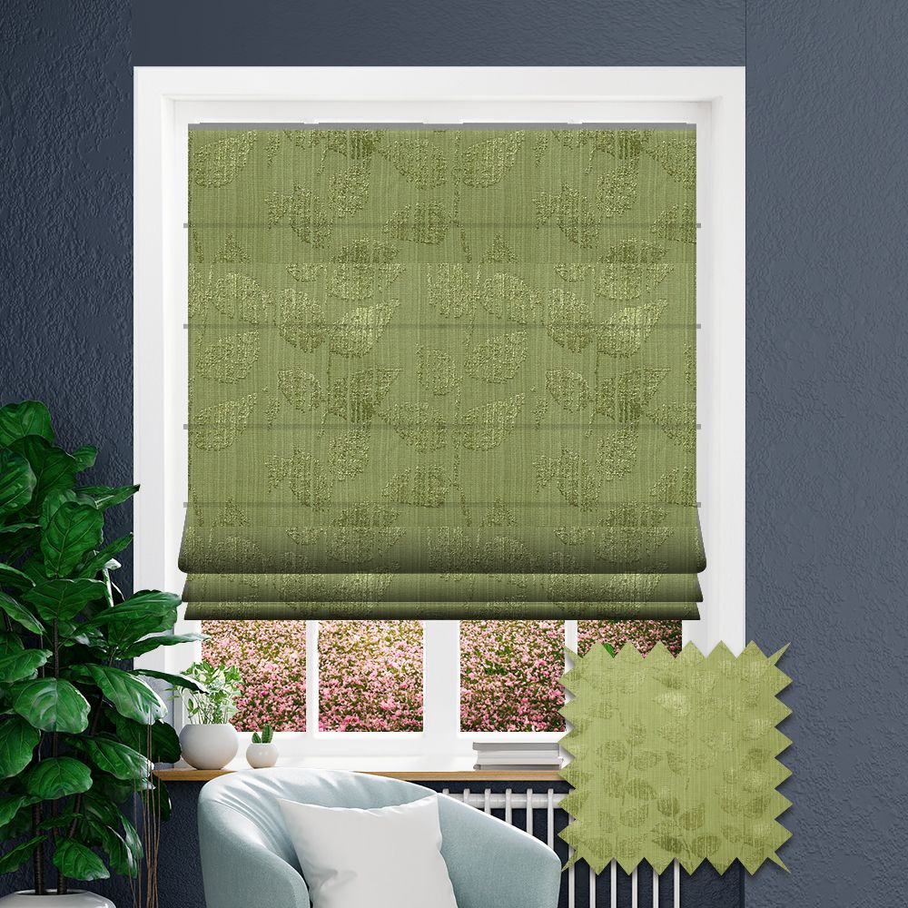 Green Patterned Roman Blind In Amaya Olive Fabric Just Blinds