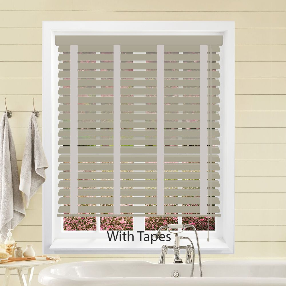 Hollywood Faux Wood Venetian Blinds In Pearl Grey With