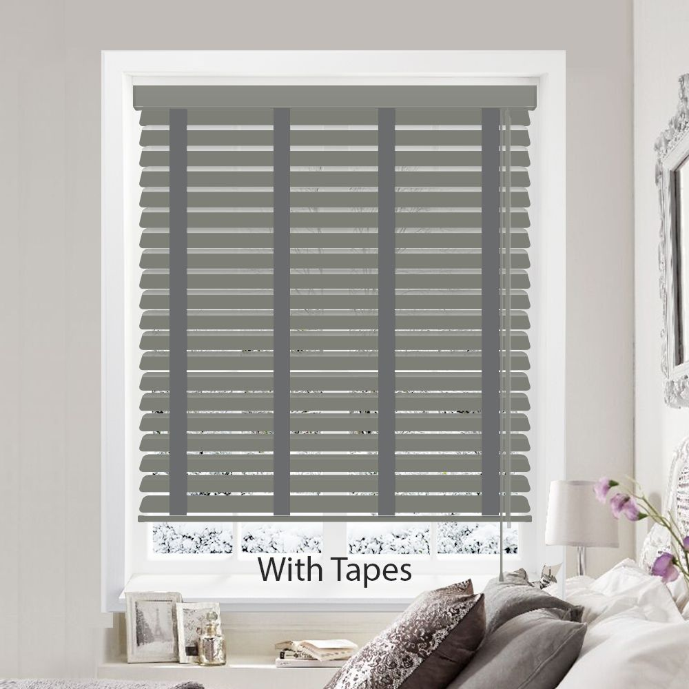 Hollywood Faux Wood Venetian Blinds In Pewter With Tapes