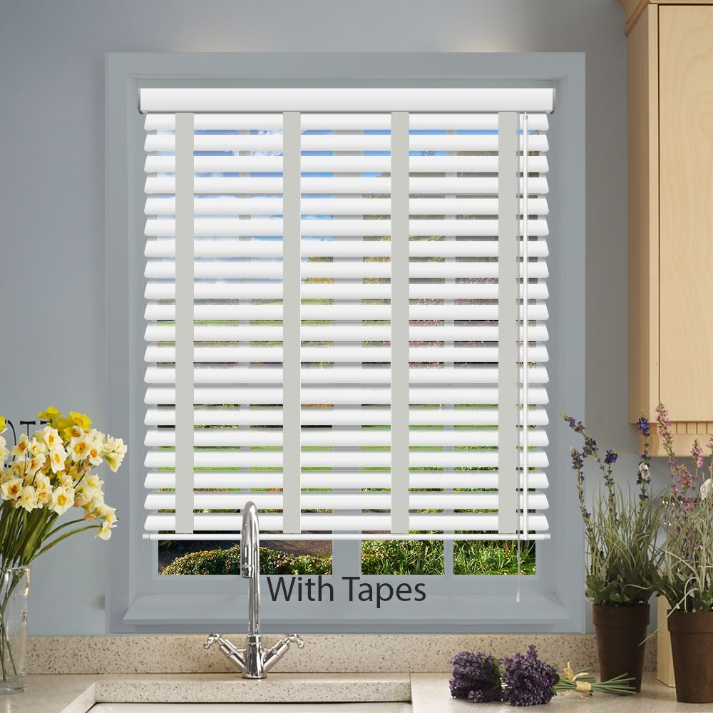 Hollywood Faux Wood Venetian Blinds In True White With