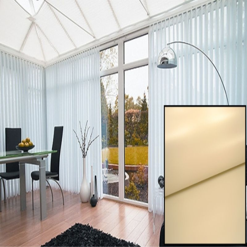 Made To Measure Blackout Vertical Blinds In Pvc Beige With