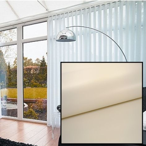 Made to Measure Blackout Vertical Blinds in PVC Fawn With Heat Reflective Coating - Just Blinds