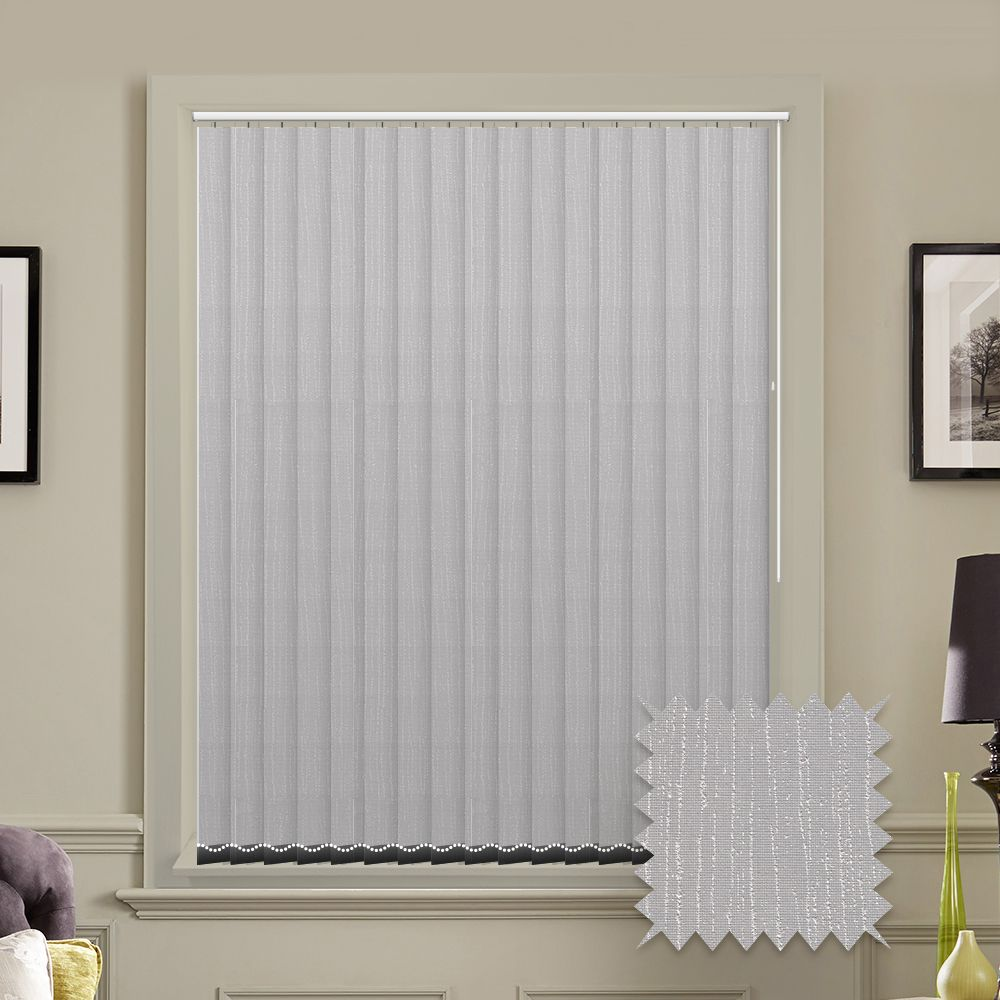 Made To Measure Tree Bark Ash Vertical Blind Grey Pattern