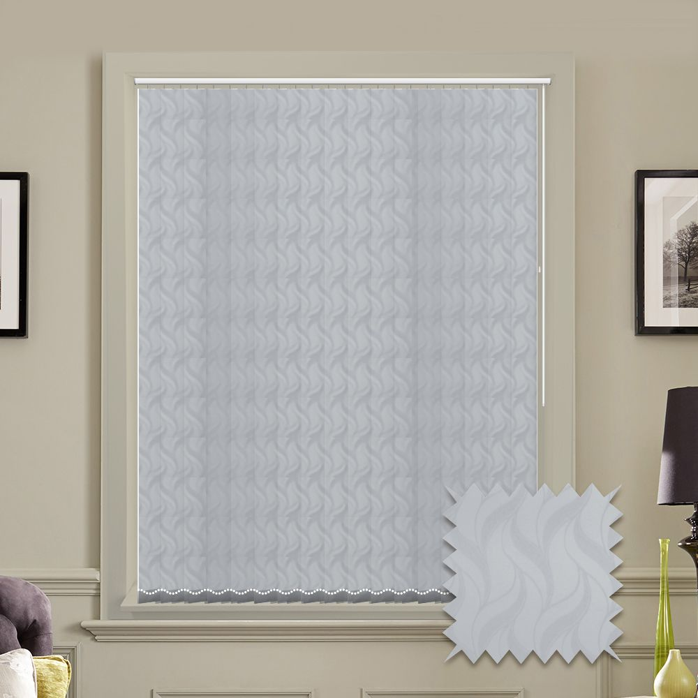 Made to measure vertical blind in White Jacamar Blackout Fabric ...