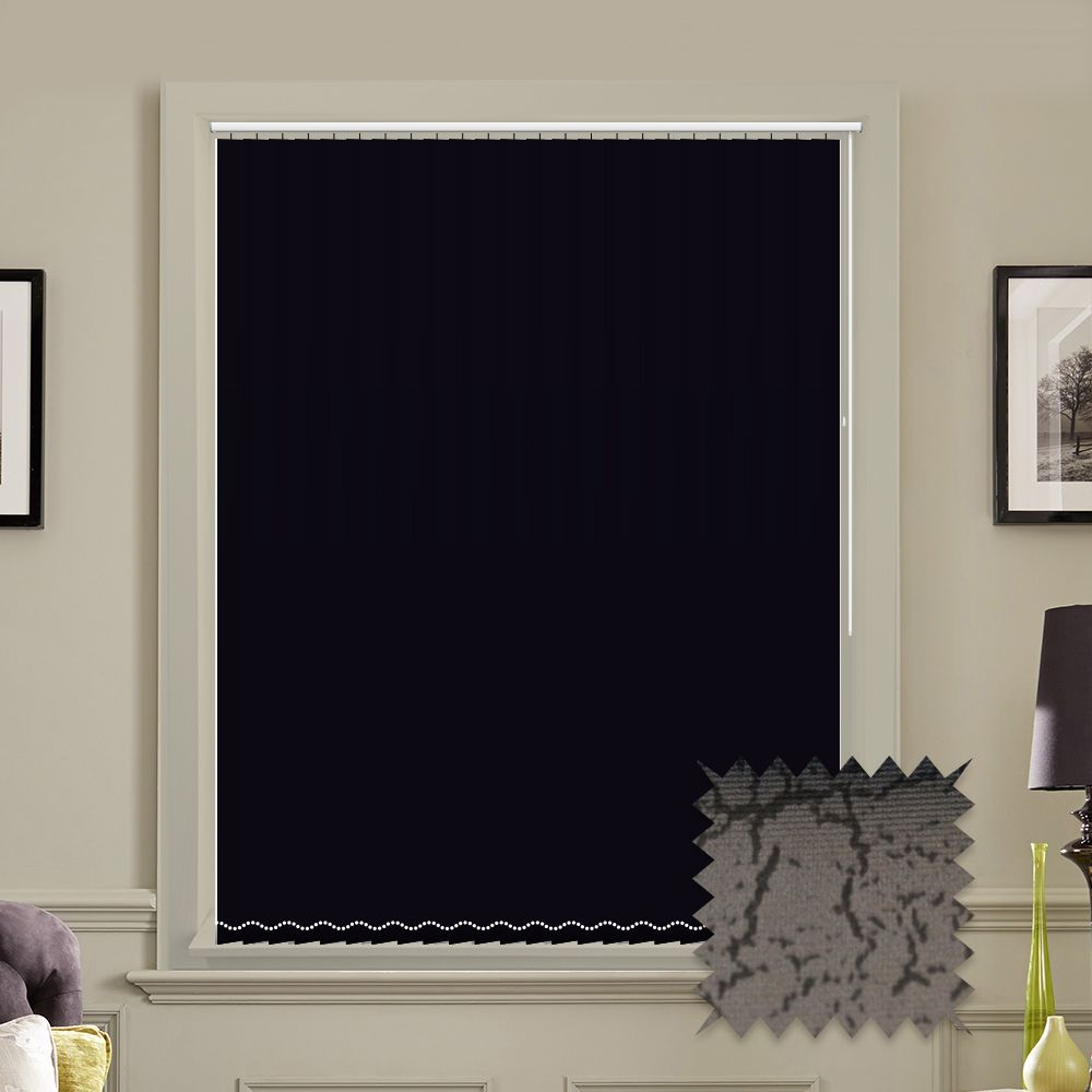 Replacement lapwing design blackout vertical blind slats in white or - Made To Measure Vertical Blinds In Pvc Blackout Fabric Marble Black Just Blinds