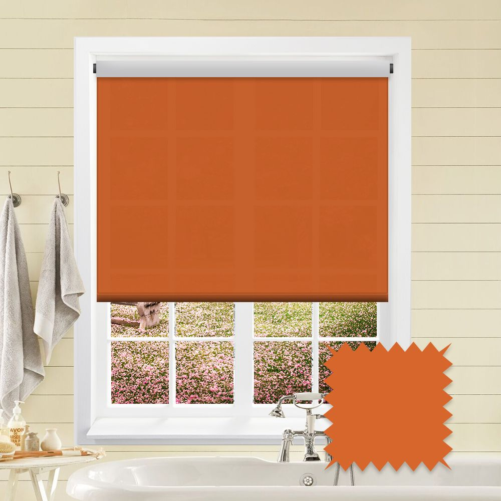 Orange Roller Blind Bermuda Orange Plain Just Blinds