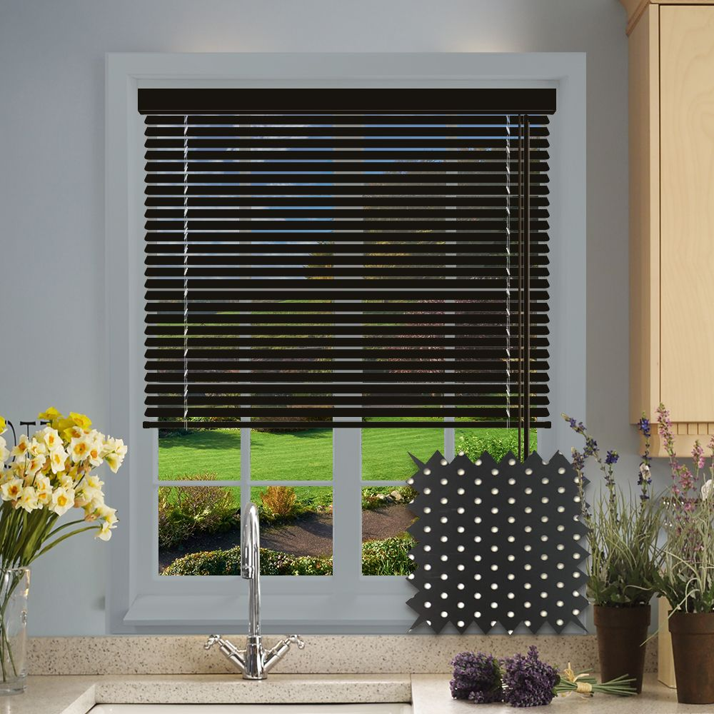Perforated Black Satin Venetian Blind Just Blinds