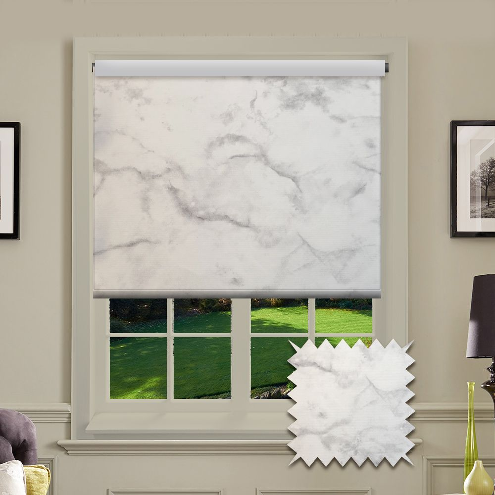 Premium Roller In Marble Silver Fabric Just Blinds