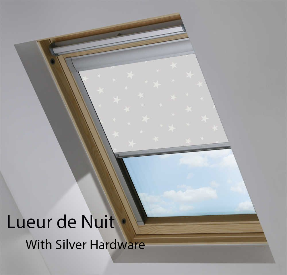 VELUX Blackout Roller Roof Blind in View Lueur de Nuit in Silver Hardware