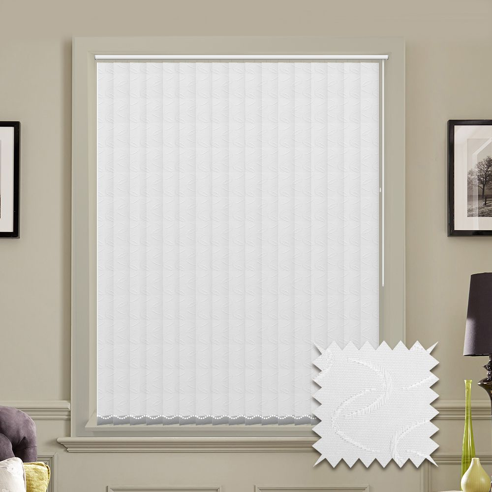 Replacement lapwing design blackout vertical blind slats in white or - Vertical Blinds Made To Measure Vertical Blind In Lapwing White Just Blinds